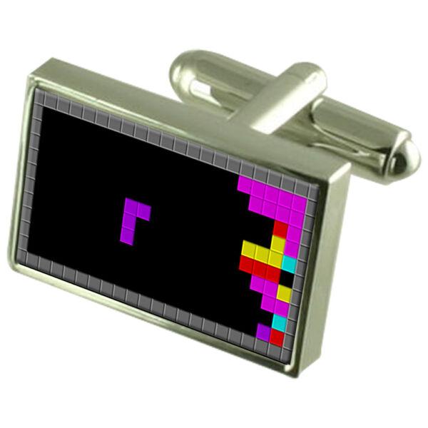 Tetris Spiel Manschettenknöpfe Graviert Nachricht Kiste