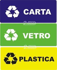 Adesivi x differenziata carta vetro plastica contenitore - Contenitori rifiuti differenziati per casa ...