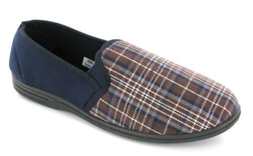 Marineblue Karomuster mens-textil Twin Gusset Pantoffeln uk6-16