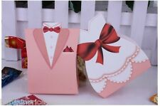5x pairs Pink TUXEDO & DRESS Groom bridal Wedding Favours Boxes Candy
