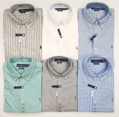 Polo Ralph Lauren Mens Slim Fit Stretch Oxford Shirt White Grey Blue Stripe Various Styles Men's Clothing