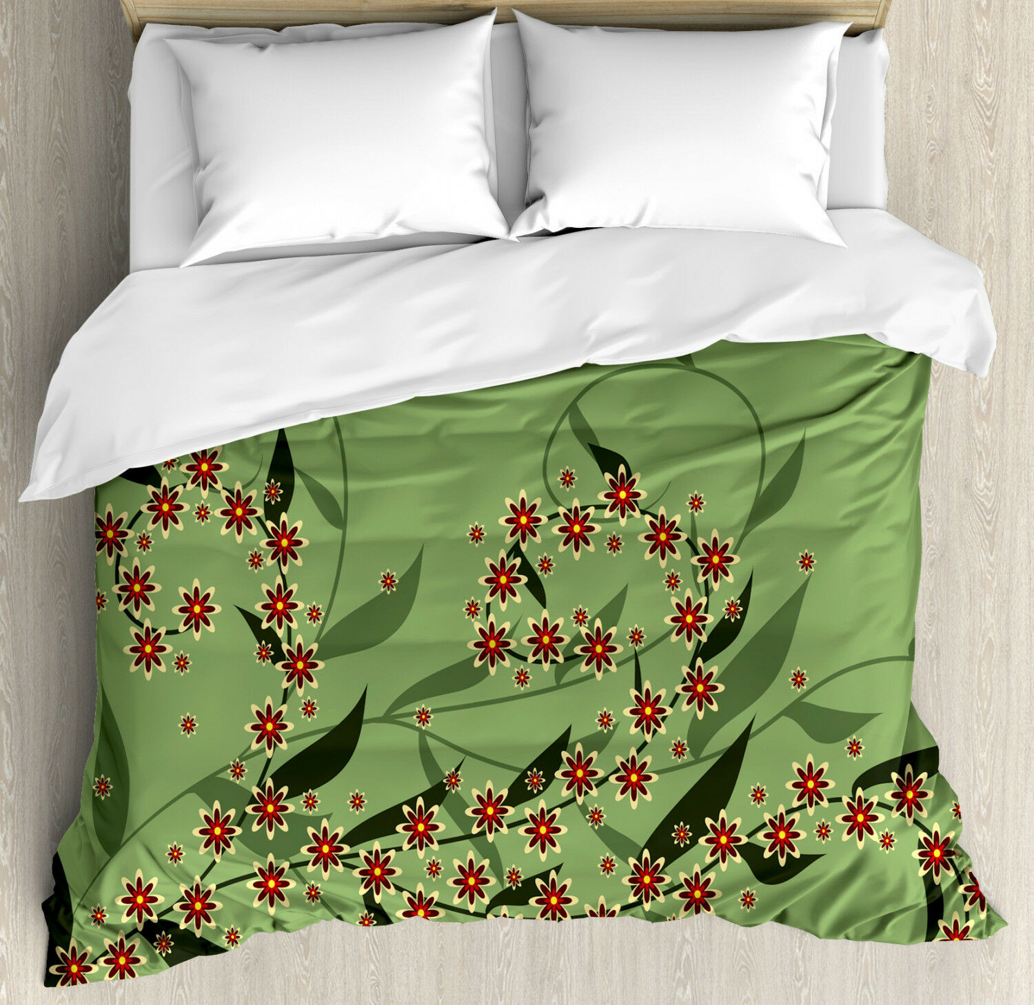 Floral Duvet Cover Set with Pillow Shams Retro Blooming Flowers Print