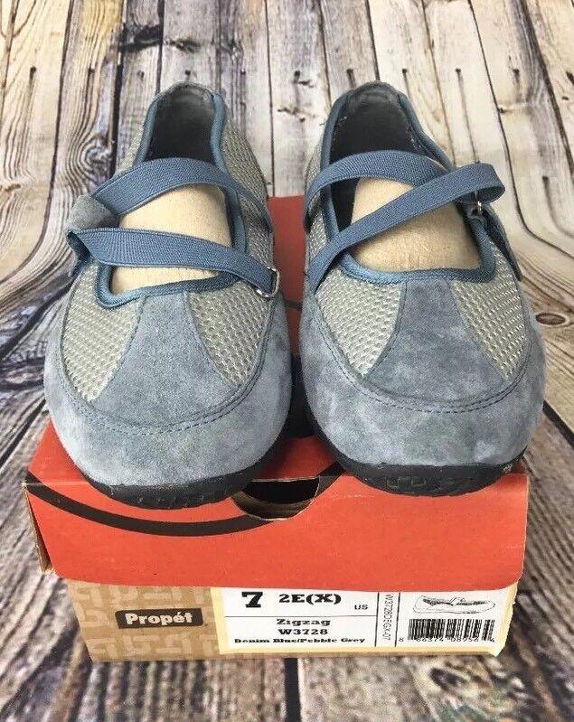 Propet W3278 ZigZag Denim bluee Mary Janes shoes Women's Size 7 2E (X)