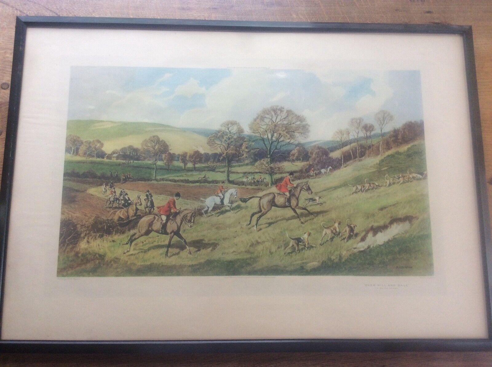 Antigüedad enorme caza del zorro impresión por Robert Hugh Buxton R.A. sobre Hill y Dale