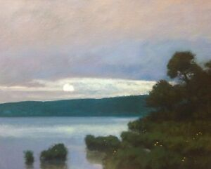 Full-Moon-Marsh-American-Pastoral-Oil-Painting-Landscape-Signed-Art-New-Original