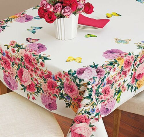 Butterfly Roses Tablecloth Table Cover Vibrant Beautiful Luxury Cloth Garden NEW