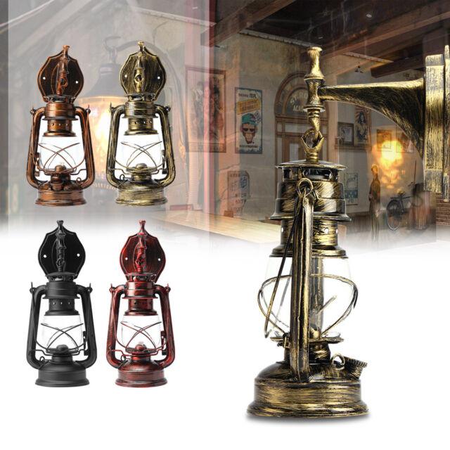 E27 Retro Vintage Antique Rustic Lantern Lamp Wall Sconce Light Bulb Fixture