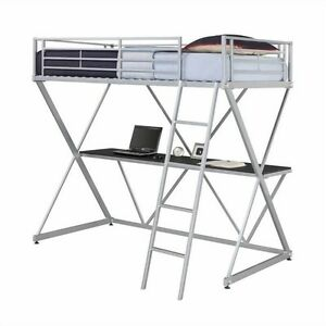 dhp x shaped metal twin loft bed bunk beds in silver with desk ebay. Black Bedroom Furniture Sets. Home Design Ideas