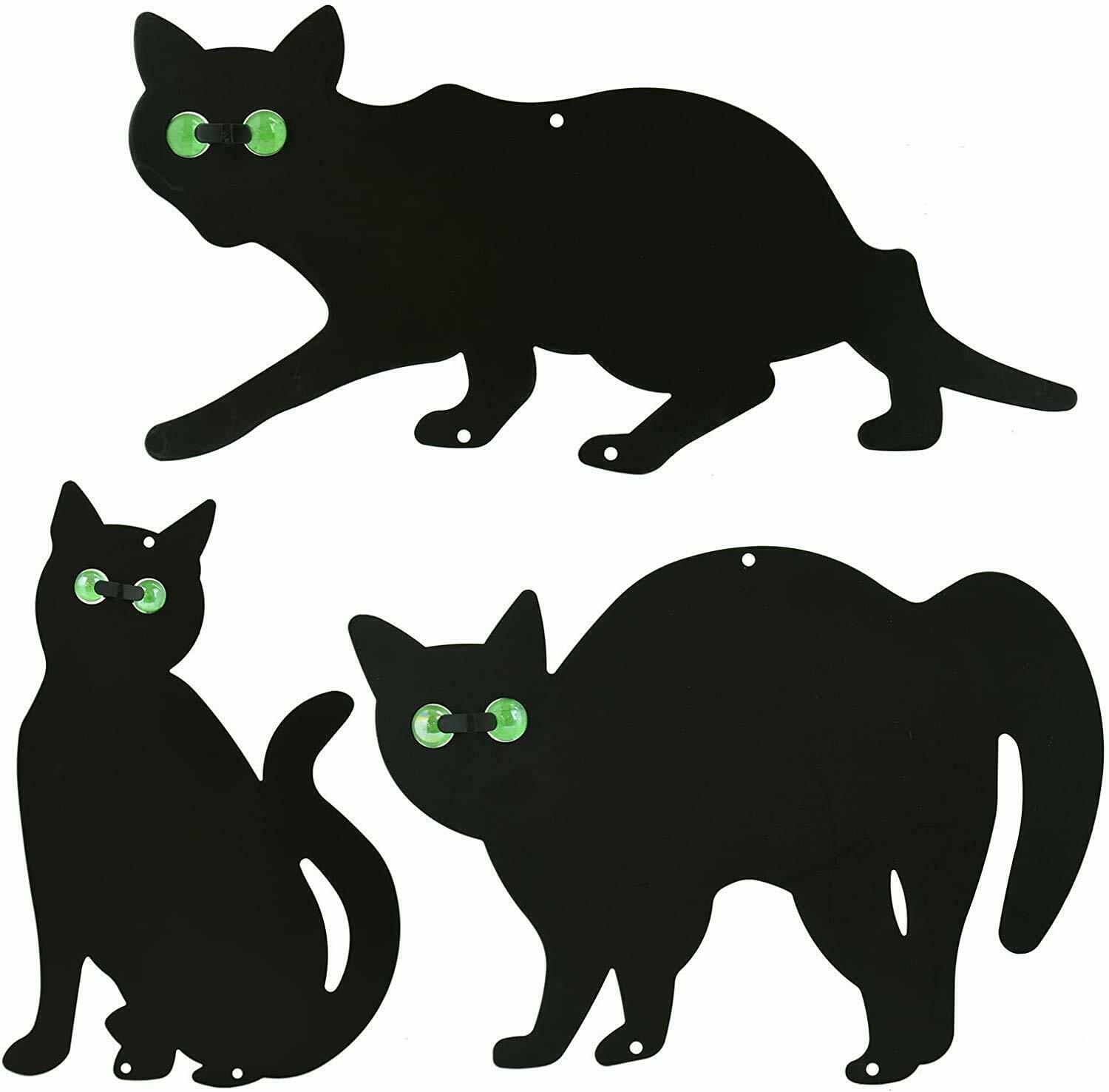 3Pack Black Cat Silhouette for Garden - Cats Scarer with Marble Eyes - Harmless