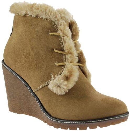 Ladies Pixie Emily Camel Faux Suede Fur Lined Boots