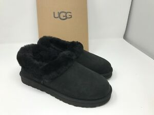 d6e4779ab14 Details about UGG Nita Black Suede Sheepskin Cuff Slippers WOMEN US 5/ EUR  36