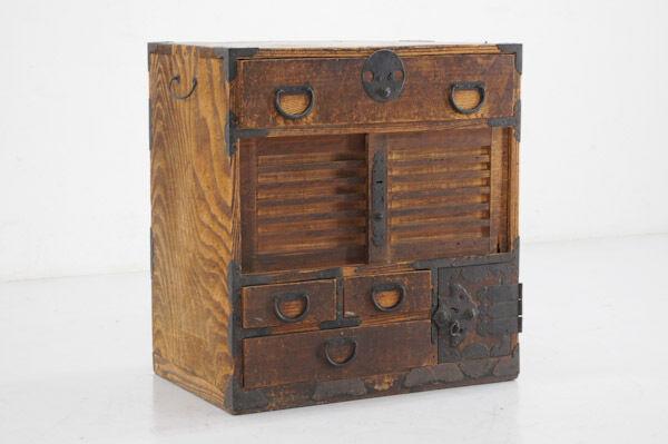 Japanese Antique Wood Chest KOTANSU for Pay Desk Good-Old Grains 307y25