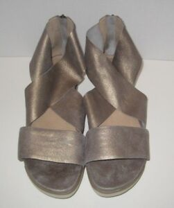 0e401100334 Image is loading EILEEN-FISHER-SPORT-PLATFORM-SANDAL-PLATINUM-LEATHER-SIZE-