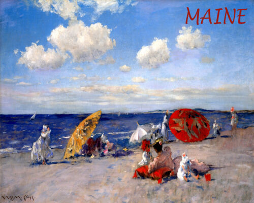 POSTER MAINE BEACH SAND FAMILY FUN USA SUMMER TRAVEL VINTAGE REPRO FREE S//H