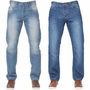 New-Mens-ENZO-Regular-Leg-Straight-Fit-Denim-Jeans-Pants-Blue-All-Waist-Sizes