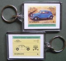 1937 LANCIA APRILIA Car Stamp Keyring (Auto 100 Automobile)