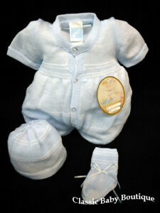 NWT-Will-039-beth-Blue-Knit-3pc-Romper-Bubble-Preemie-Hat-Baby-Boys-Booties-Size-00
