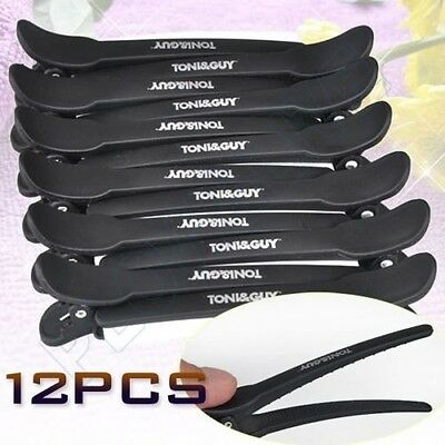 12pcs Black Matte Hairdressing Salon Sectioning Clips Clamps Hair Grip