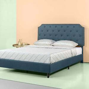 Platform Bed King Size Blue Upholstery And Adjustable Height Headboard 689756626216 Ebay