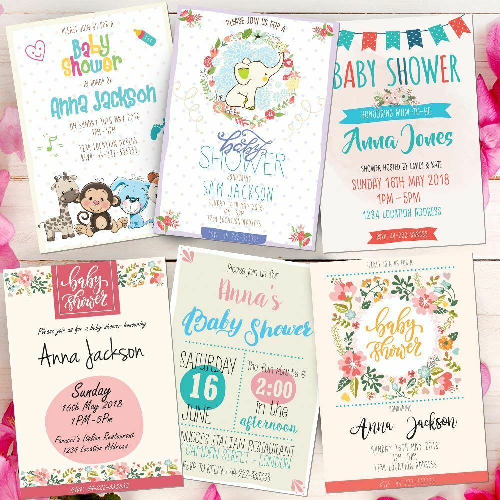 Personalised Baby Shower Invitations Choose Your Design Invites Free Envelopes