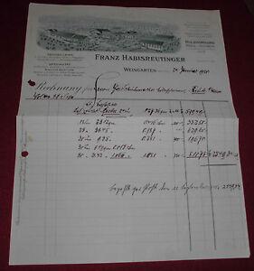 Habisreutinger Weingarten rechnung alt antik f habisreutinger weingarten holz 1920 papier