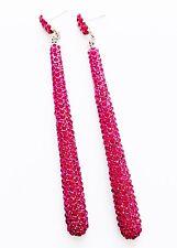 USA EARRING Rhinestone Crystal gemstone Dangle Rose Red Long Fasion Party Bar