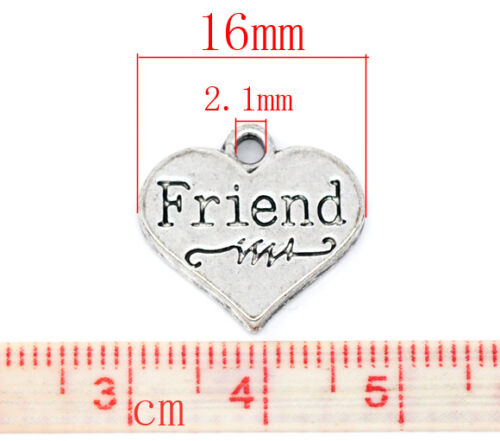 Lot 10 pcs Friend Heart Pendants Dangle Charms jewelry findings DIY c74