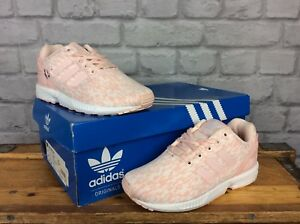 separation shoes d8b64 152c6 Details about ADIDAS ORIGINAL UK 5 EU 38 PALE PINK WHITE ZX FLUX WOVEN  TRAINERS GIRLS LADIES