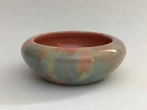 MCM-Vintage-Pottery-Planter-Pink-Blue-White-Brush-Feather-Roll-Rim-Console-Bowl