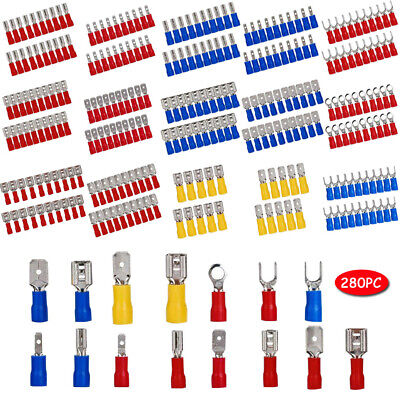 100x Assorted Crimp Spade Terminal Insulated Electrical Wire Connector Yellow YF