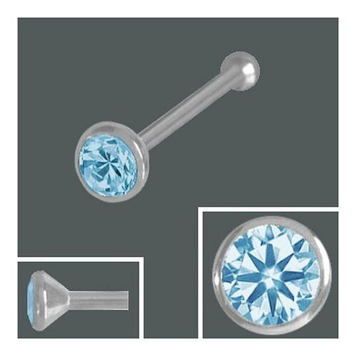 Nasenstecker Kugel Zirkonia Aqua 925 Silber Nasenpiercing 2,0 mm