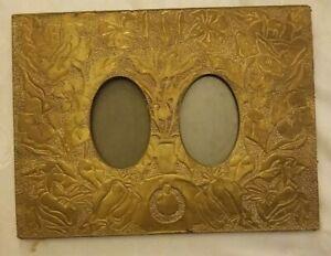 Antique-Victorian-Hammered-Pierced-Brass-Double-Picture-Frame-9x12-034-Art-Nouveau