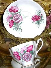 Queen Anne PINK CARNATION FLORAL Tea Cup and Saucer FLUTED Teacup