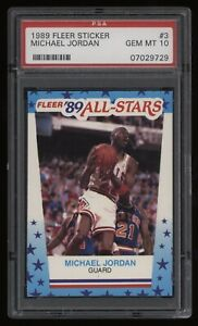 1989-90 Michael Jordan PSA 10 Fleer Basketball Sticker #3 *NICE* Low POP82 WOW