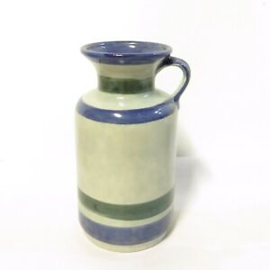 Vintage-West-German-Blue-Green-Pottery-Vase-Jug