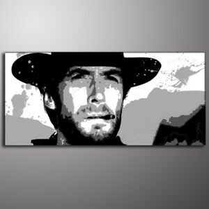 QUADRO-AD-OLIO-POP-ART-Clint-Estwood-per-un-pugno-di-dollari-painting