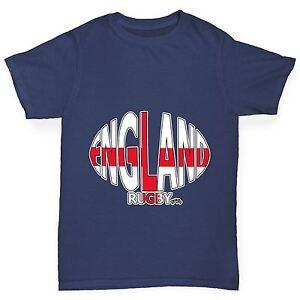 Twisted-Envy-Boy-039-s-England-Ballon-De-Rugby-Drapeau-Drole-T-shirt-en-coton