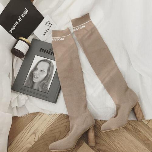 stivali coscia ginocchio donna beige collant 10 cm plateau pelle sintetica 9658