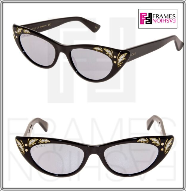 f66ff801c5 GUCCI 0089 Black Mother Of Pearl Thin Black Silver Mirrored Sunglasses 3807