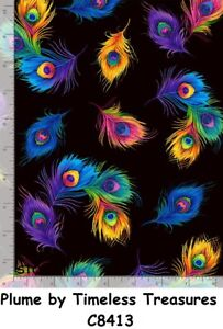 Peacock Plume Feathers on Black cotton quilt fabric Timeless Treasures BTY C4813