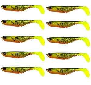 10 70mm soft plastic fishing lures ripple shad fire tiger bass, Fishing Reels