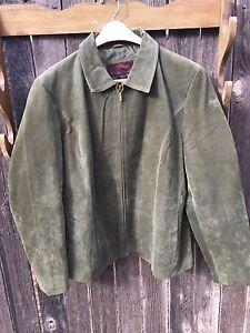 Womens Suede Leather Jacket Size Xxl Siena Olive Green Light Coat Ebay
