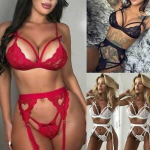Hot-Sleepwear-G-string-Underwear-Panties-Bra-Lace-Babydoll-Lingerie-Women-Set