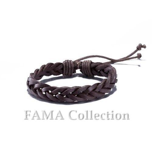 Quality FAMA Dark Brown Braided Bracelet with Adjustable Drawstrings