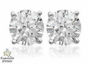 CERTIFIED 2.00ct  F/VS2 ROUND GENUINE DIAMONDS IN 14K GOLD STUDS EARRINGS