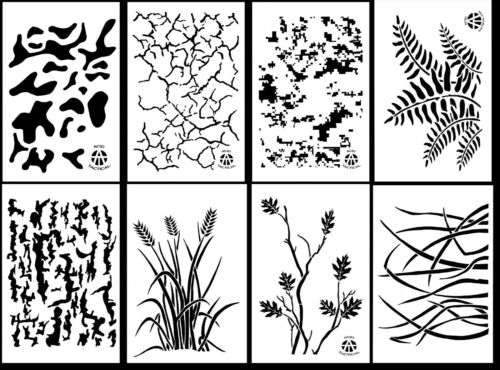 "8 DESIGNS Airbrush Camouflage Paint Stencils 14/"" 10 Mil Gun Camo Duck Boat"