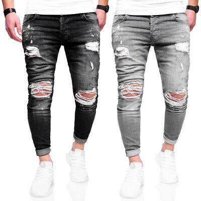 BEHYPE Jeans Herren Destroyed Röhrenjeans Slim Fit Chino Hose SchwarzGrau NEU | eBay
