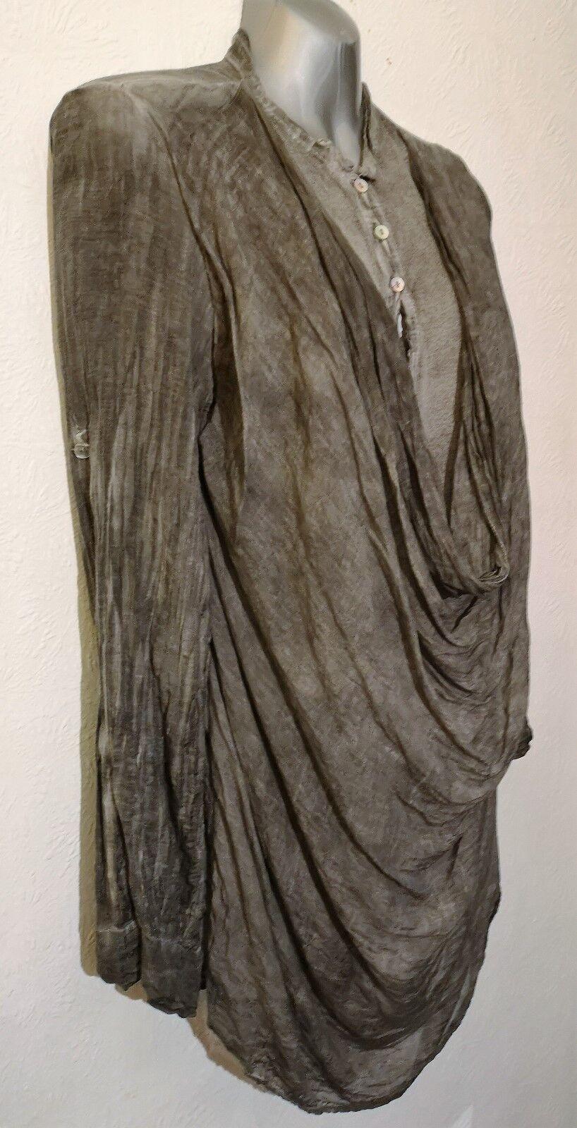 Grey italian garment dyed lagenlook top silk cotton drape crinkle quirky 12 14