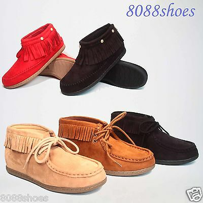 Women's Zipper Lace Flat Heel Fringe Moccasin Round Toe Ankle Bootie Shoes NEW