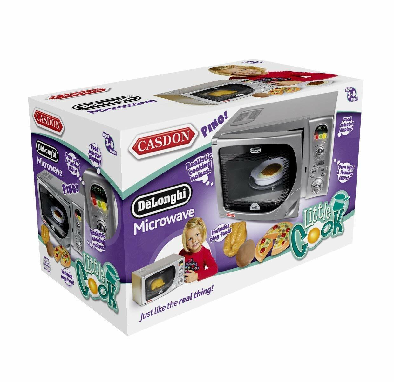 Kids Toy Microwave Oven - Delonghi Realistic Replica Lights Battery Casdon Fun